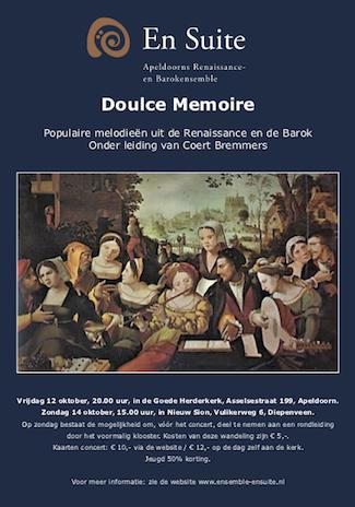 Flyer concerten 'Doulce Memoire', oktober 2018